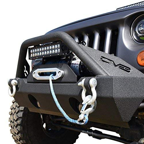 DV8 Jeep Wrangler Front Bumper Hammer Forged 4x4 Offroad Bumper w/ Accessories Fits 07-17 JK Model Includes Winch Plate, Fog Lights, and D-Rings Low Profile for Better Ventilation FBSHTB-15