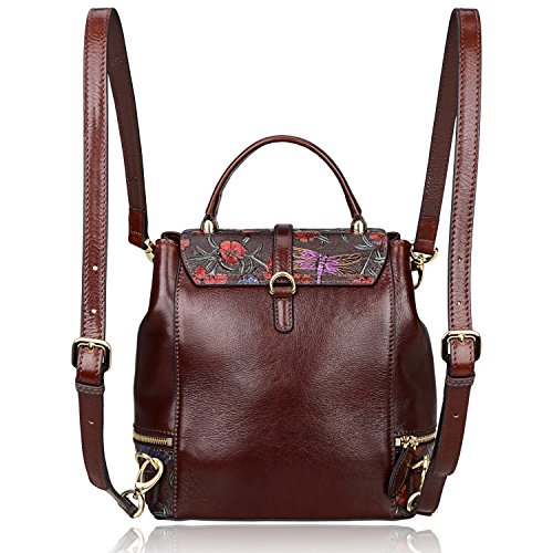 PIJUSHI Designer Women s Backpacks Floral Leather Mini Backpack Handbags d517d7a08f352