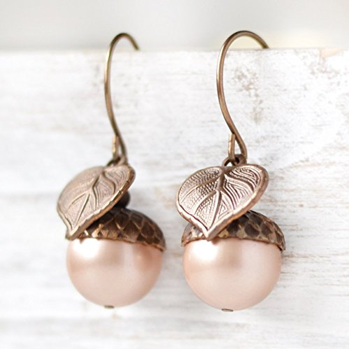 Acorn Drop Earrings (Large Simulated Pearl Acorn Earrings)