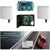 Double Way 16-23ft Long Distance Card Reader Windshield Tag Vehicle Parking System Control Kits with Control Board+110-240V Power Box