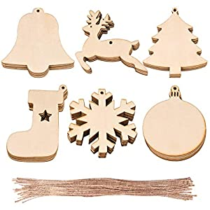 WXJ13 30 PCS 6 Styles Wooden Christmas Hanging Ornaments, for DIY Wood Crafts Christmas Decoration, Christmas Tree Ornaments