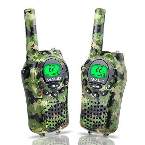 AVALID Walkie Talkies for kids, 22 Channel FRS/GMRS Long Range 5KM Two-Way Radios with Free Straps, Ultra-Long Standby/Back-lit LCD Screen Radio Walkie for Indoor/Outdoor Activities (Pair,Green Camo) (Scanner Gmrs Frs)