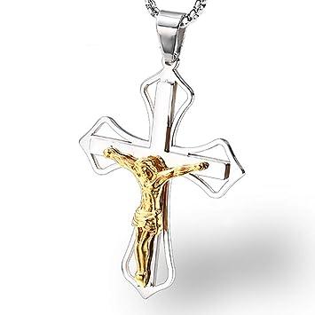 af84c3501ece Burenqi Tono De Plata Dorado Jesucristo Cruz Oración Collar Colgante ...