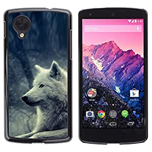 Design for Girls Plastic Cover Case FOR LG Nexus 5 D820 D821 White Wolf Magical Forest Nature Dog OBBA