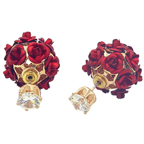 18K Gold Plated elegant AAA cubic zirconia double-sided Red Rose flower Ball Women Stud Earrings