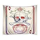 HommomH Wall Art Home Decor Tapestry 60'' x 90'' Wall Hanging Poker Skull