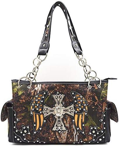 Camouflage Cross Western Conceal Carry Purse Handbag Shoulder Bag Wallet Black