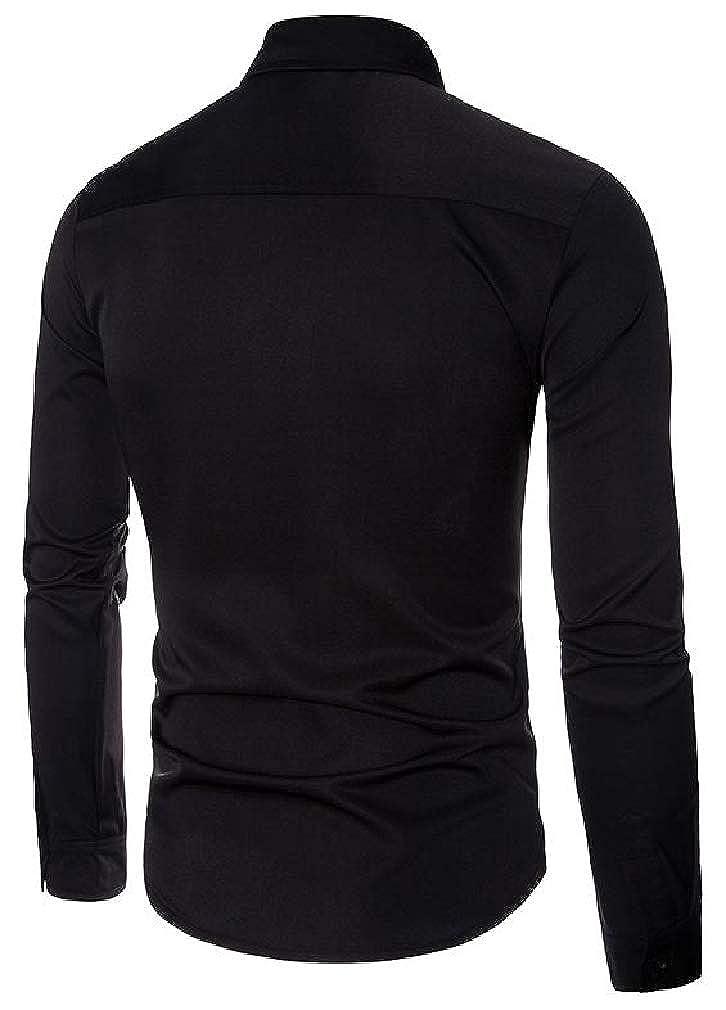 pipigo Mens Lapel Neck Lace Hollow Out Club Curved Hem Button Down Shirts