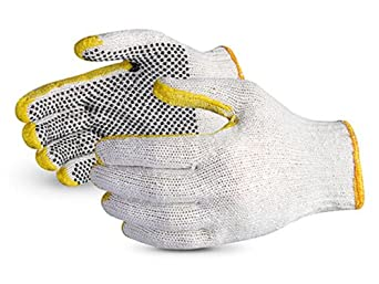 Superior SCP2DRT Sure-Grip Cotton/Polyester 2 Side PVC Dots String Knit Glove with Reinforced Tips and Thumb, Work, 7 Gauge Thickness, X-Large (Pack of 1 Dozen)
