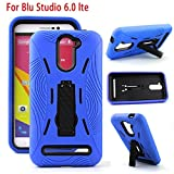For Blu Studio Phones PREMIUM Hybrid Armor Heavy Duty Case Cover Kickstand (Blu Studio 6.0 LTE Y650Q Blue)
