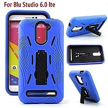 For Blu Studio Phones PREMIUM Hybrid Armor Heavy Duty Case Cover Kickstand (Blu Studio 6.0 LTE Y650Q Blue)