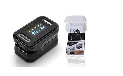 Pulsox - Pulsioxímetro de dedo con pantalla a color y alarma, carcasa, baterías, cordón, manual en 5 idiomas - 2 años de garantía - Certificado CE ...