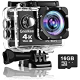 Gnolkee 4K WiFi Action Camera 16GB TF Card,16MP Underwater Video Camera 170 Wide Angle Sports Cam with Remote, 2 Batteries, 24 Accessories Mounting Kit