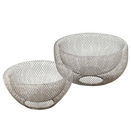 Whole House Worlds The Iconic Modern Wire Mesh Fruit Bowls, Set of 2, Art Museum Style, Zinc, Large, 11 Inches Diameter x 6 Tall 9 1/2 Diameter x 4 3/4 Inches -