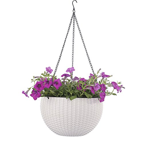 White Hanging Basket - Dia 10.4 in. Round Self-Watering Hanging Planters for Indoor Outdoor Plants Plastic Resin Garden Hanging Baskets for Plants (white)