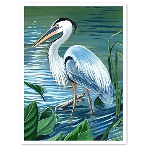 Apomelo 12×16 inches Diamond Painting Bird Full Paint with Diamonds Embroidery Dotz Kit Art Craft for Decor,Great Blue Heron by The Lake