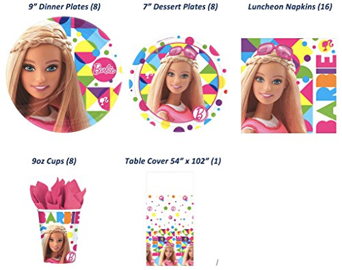 Barbie Sparkle Deluxe Birthday Party Bundle (Serves 8 inc Table Cover) - 5 Items: 8-9