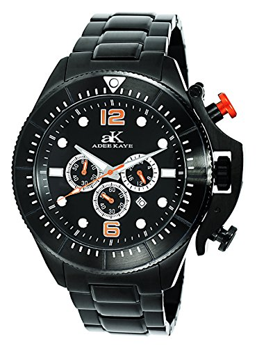 Adee Kaye Mens Chronograph Watch - Adee Kaye Mens Sports SS Chronograph Watch with Crown Protector-Black