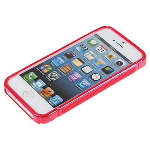 PhoneNatic Case für Apple iPhone 5 / 5s / SE Hülle Silikon rot S-Style Cover iPhone 5 / 5s / SE Tasche + 2 Schutzfolien