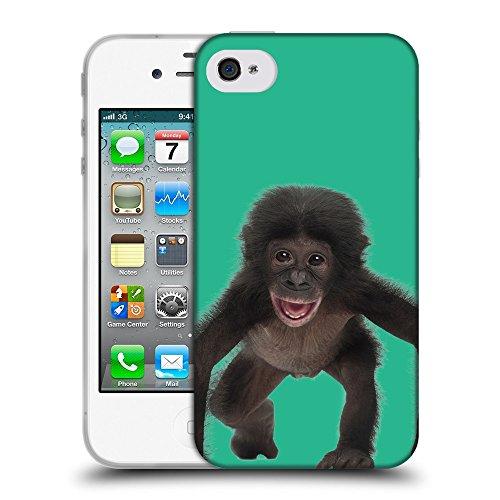 GoGoMobile Coque de Protection TPU Silicone Case pour // Q05570626 Bébé bonobo Caraibi verde // Apple iPhone 4 4S 4G