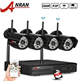 ANRAN 4CH 1080P 2.4G WIFI NVR Wireless Security Camera System with 4 Outdoor 1080P Night Vision IP Security CCTV Cameras Plug and Play 2TB Hard Drive