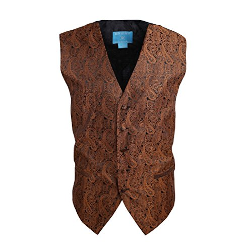 EGC1B02A-M Brown Black Patterned Graduation Gift Waistcoat Woven Microfiber Young Design Medium Vest By Epoint