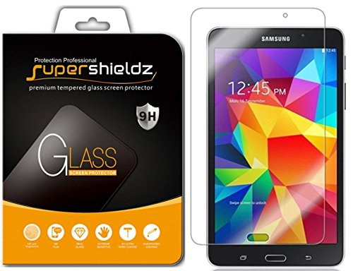 ([2-Pack] Supershieldz for Samsung Galaxy Tab 4 7.0 Screen Protector, [Tempered Glass] Anti-Scratch, Anti-Fingerprint, Bubble Free, Lifetime Replacement Warranty)