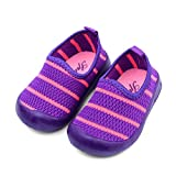 Mjun® Boys Girls Breathable Lightweight Slip-on Sneakers for Beach Walking Running (Baby/Toddler/Little Kid) (20#-8.5 M Toddler (Inside Length 5.9in, 1599-purple Stripe)