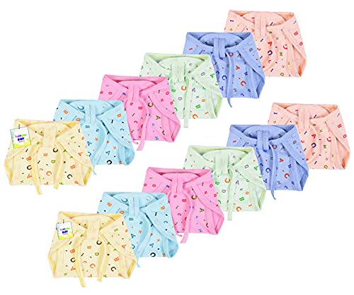 Toddylon New Born Baby Cloth Diapers Langot Washable Reusable Diaper Nappies for 0 6 Months Babies  Pack of 12