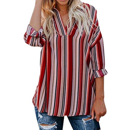 - NEARTIME Promotion❤️Autumn Women T-Shirt Chiffon Long Sleeve Stripe Tops Fashion Print Blouse Long Loose Tank Tops