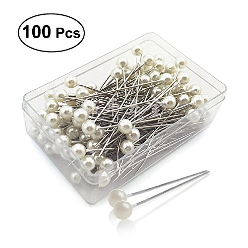 ULTNICE 100pcs Pearlized Ball Head Pins Straight Pins Sewing Pins for DIY Sewing Crafts ()