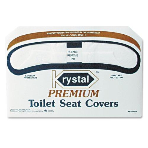 Krystal K2500 Premium Half Fold Toilet Seat Cover, White Color (Case of 10 Packs, 250 per - Premium Seat Krystal Covers Toilet
