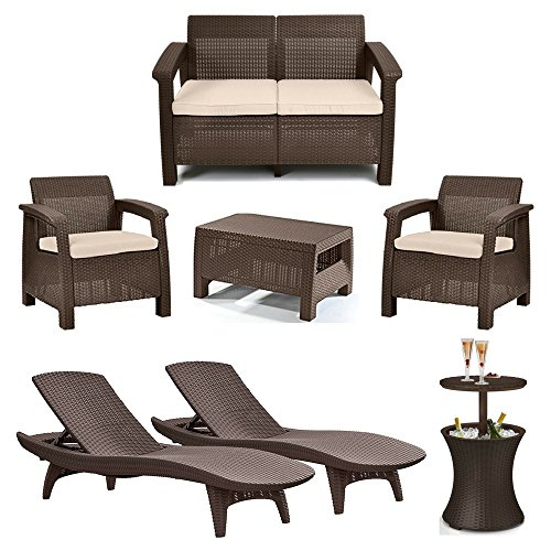 4-Piece Corfu Seating Set with Cushions, 2-Piece Adjustable Patio Chaise Lounge & 7.5 Gallon Pool Cooler Table, Rich Dark Brown Rattan Design, Keter Outdoor Furniture, Luxurious Patio & Garden Decor - Pacific Adjustable Chaise