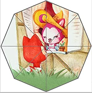 A-li Cartoon Fox Foldable Rain Umbrella 43.5 inch Wide Good Gift