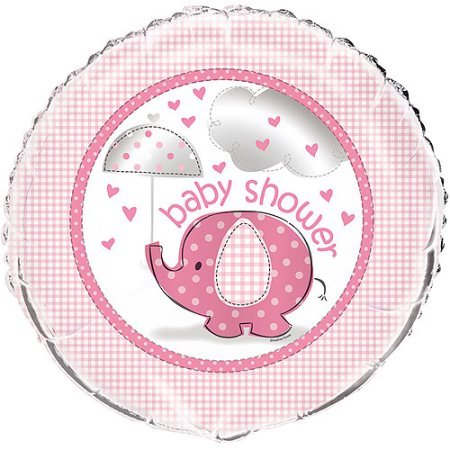 Four Pieces Unique Umbrella Elephant Girl Baby Shower Foil Mylar Balloon bundled by Maven Gifts