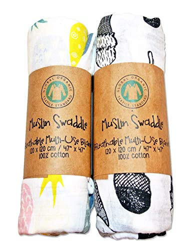 Muslin Swaddle Baby Blanket 100% Organic Cotton 47