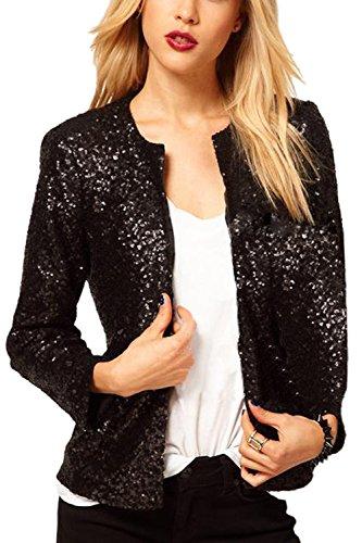 Womens Casual Solid Open Front Sequins Short Bomber Jacket Coat Black