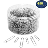 Paper Clips, OUHL 450 Pieces Silver Paperclips Assorted, Medium 28mm and Jumbo Sizes 50mm, Office Clips for Work School Home Use