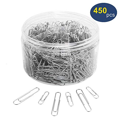 Paper Clips, OUHL 450 Pieces Silver Paperclips Assorted, Medium 28mm and Jumbo Sizes 50mm, Office Clips for Work School Home Use (Assorted Paper Sizes Clips)