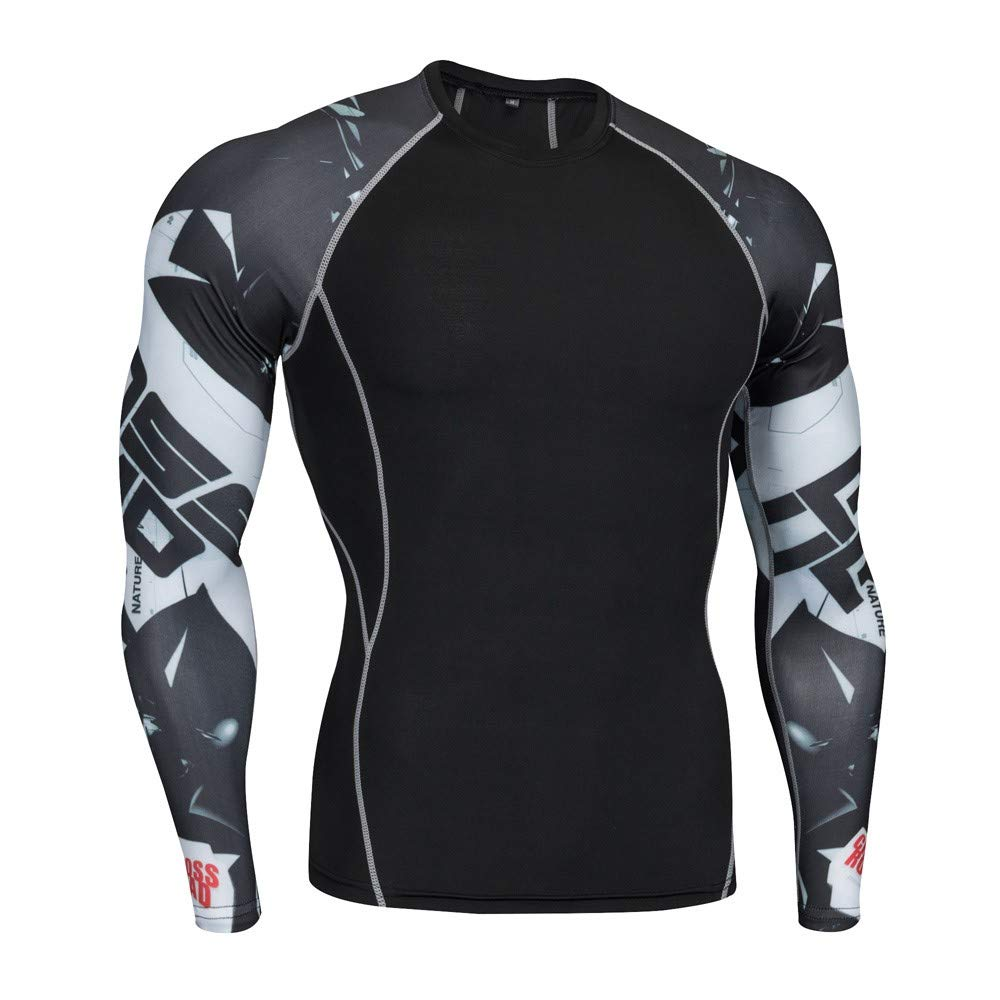 Man Workout Leggings Dry Fit Long-Sleeved Sports Baselayer Gym Running Yoga Athletic Suit Black
