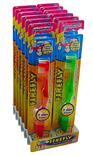 Dr. Fresh Firefly The Original Flashing Light up Timer Toothbrush for Kids with Suction Cup, Soft Bristles 1 Minute Timer (Pack of 12) by Cayenas
