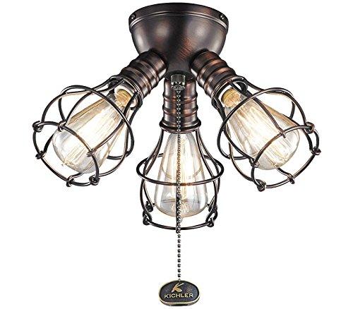 10.25 Inch Three Light - Kichler 370041OBB Industrial Fan Light Kit in Oil Brushed Bronze, 3-Light