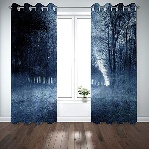 SCOCICI Grommet Polyester Window Curtains Drapes [ Halloween,Ghostly Haunted Forest Image Bleak Gloomy Misty Nature Landscape Decorative,White Black Light Blue] Living Room Bedroom Kitchen Cafe