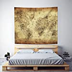 """Uphome Antique Map Tapestry Wall Hanging Light-Weight Polyester Fabric Wall Decor (60"""" H x 80"""" W, Vintage Map) 7"""