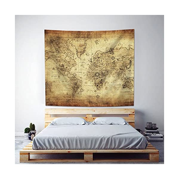 """Uphome Antique Map Tapestry Wall Hanging Light-Weight Polyester Fabric Wall Decor (60"""" H x 80"""" W, Vintage Map) 4"""