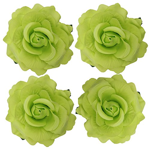 Coral Rose Pearl (Sanrich 4pcs/pack Fabric Rose Hair Flowers Clips Hairpin Brooch Hair Accessory Wedding Party Headpieces (green))