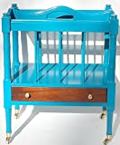 Magazine Rack Aqua Solid Wood Carved Brass Casters