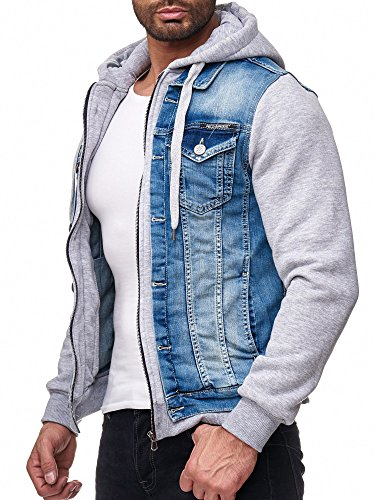 Redbridge Herren Denim Jeans Jacke Casual Übergangsjacke Sweatjacke mit Kapuze