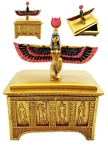 Ebros Egyptian Goddess Isis With Open Wings Golden Jewelry Box Statue Patroness Of Magic Nature Secret Trinket Box Figurine