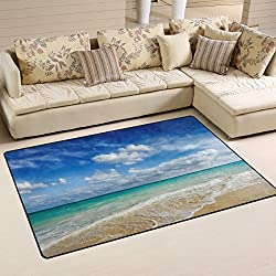 Naanle Ocean Area Rug 3'x5', Caribean Beach Sea Waves Polyester Area Rug Mat for Living Dining Dorm Room Bedroom Home Decorative